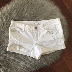2.1 Denim Distressed Stretch Shorts